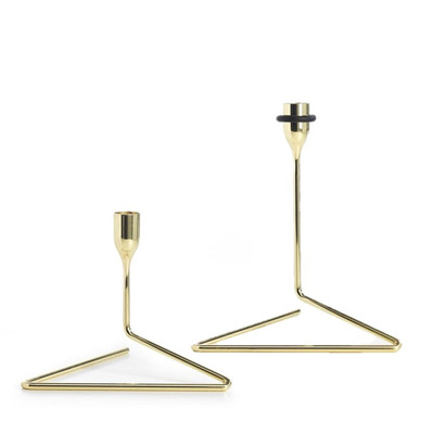 Set of 2 Candlesticks Puzzle Small & Medium | Gold