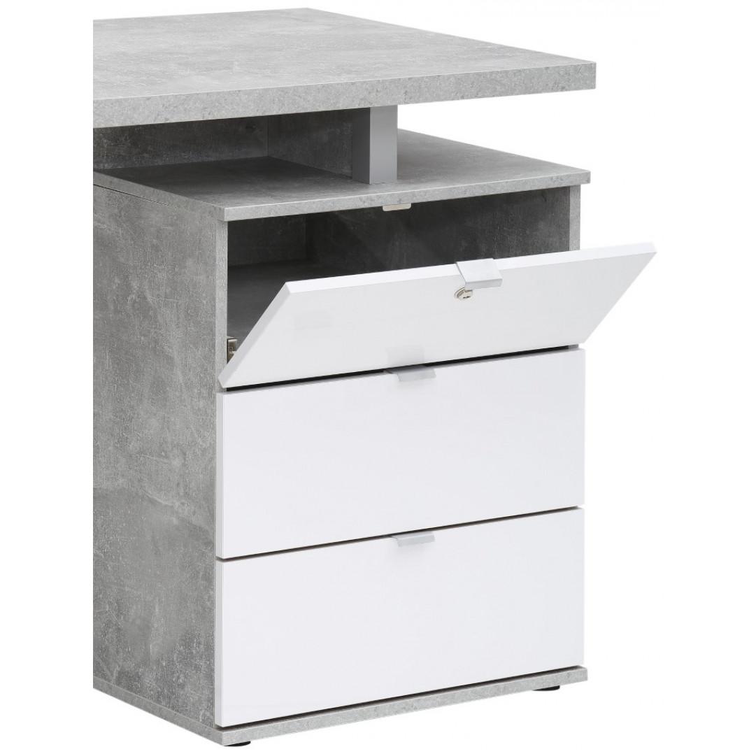 Computertisch 4056   Betonoptik / Weiß Hochglanz