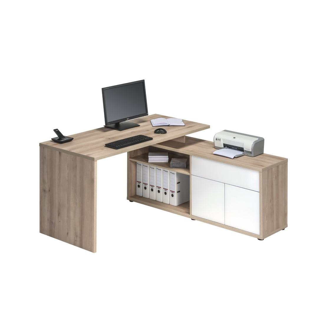 Computertisch 4020 | Edelbuche / Weiß Hochglanz