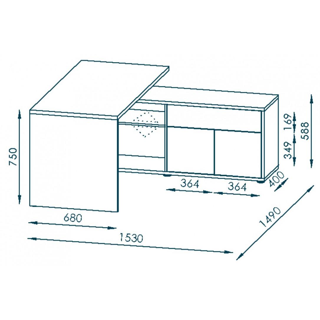 Computertisch 4020   Eiche Dunkel / Weiß Hochglanz