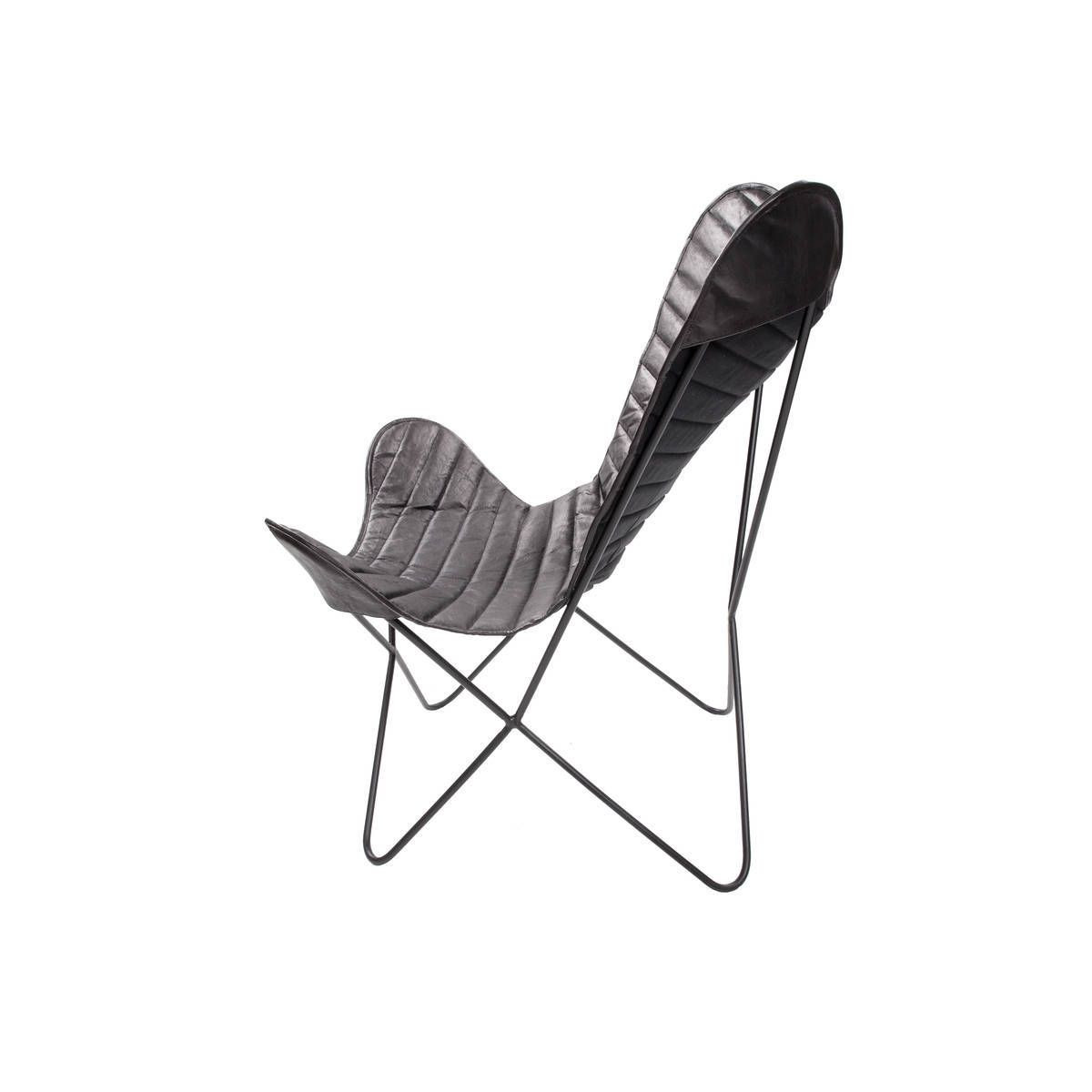 Leather Butterfly Chair Francisco | Black Stripes