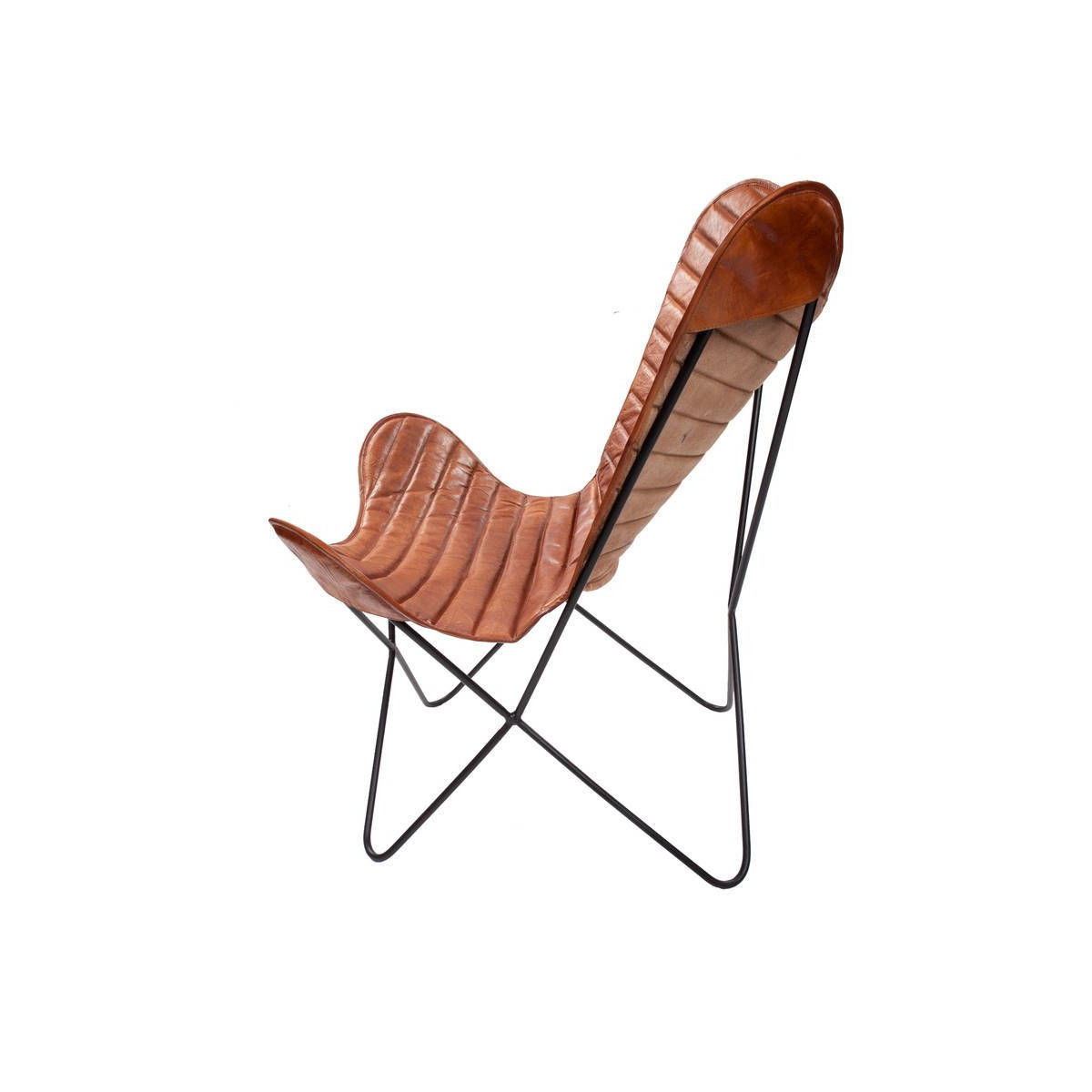 Leather Butterfly Chair Francisco | Cognac Stripes