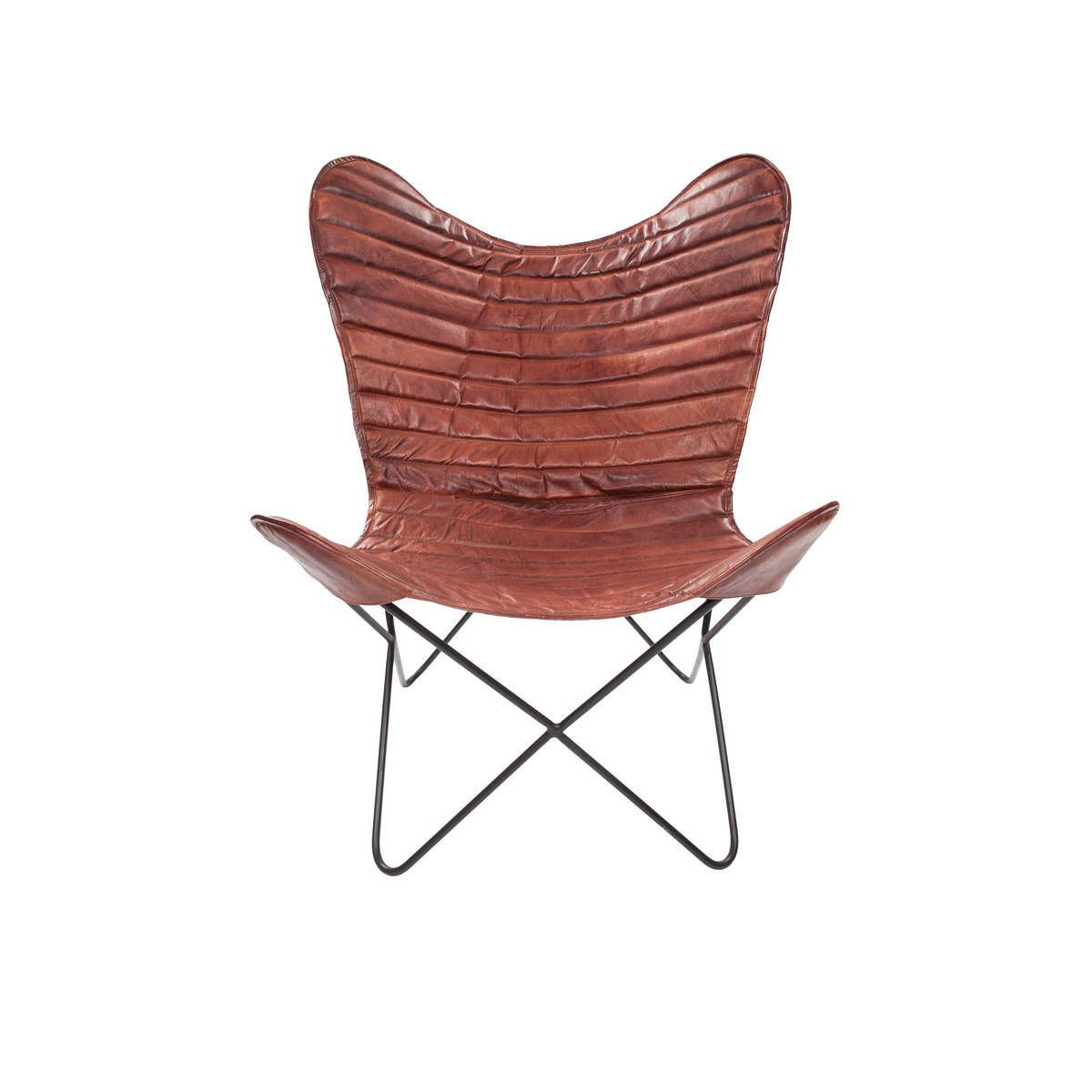 Leather Butterfly Chair Francisco   Cherry Red Stripes