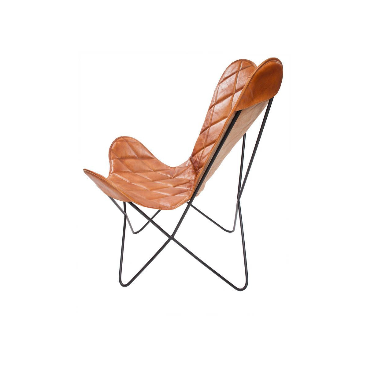 Leather Butterfly Chair Pedro   Cognac Check Pattern