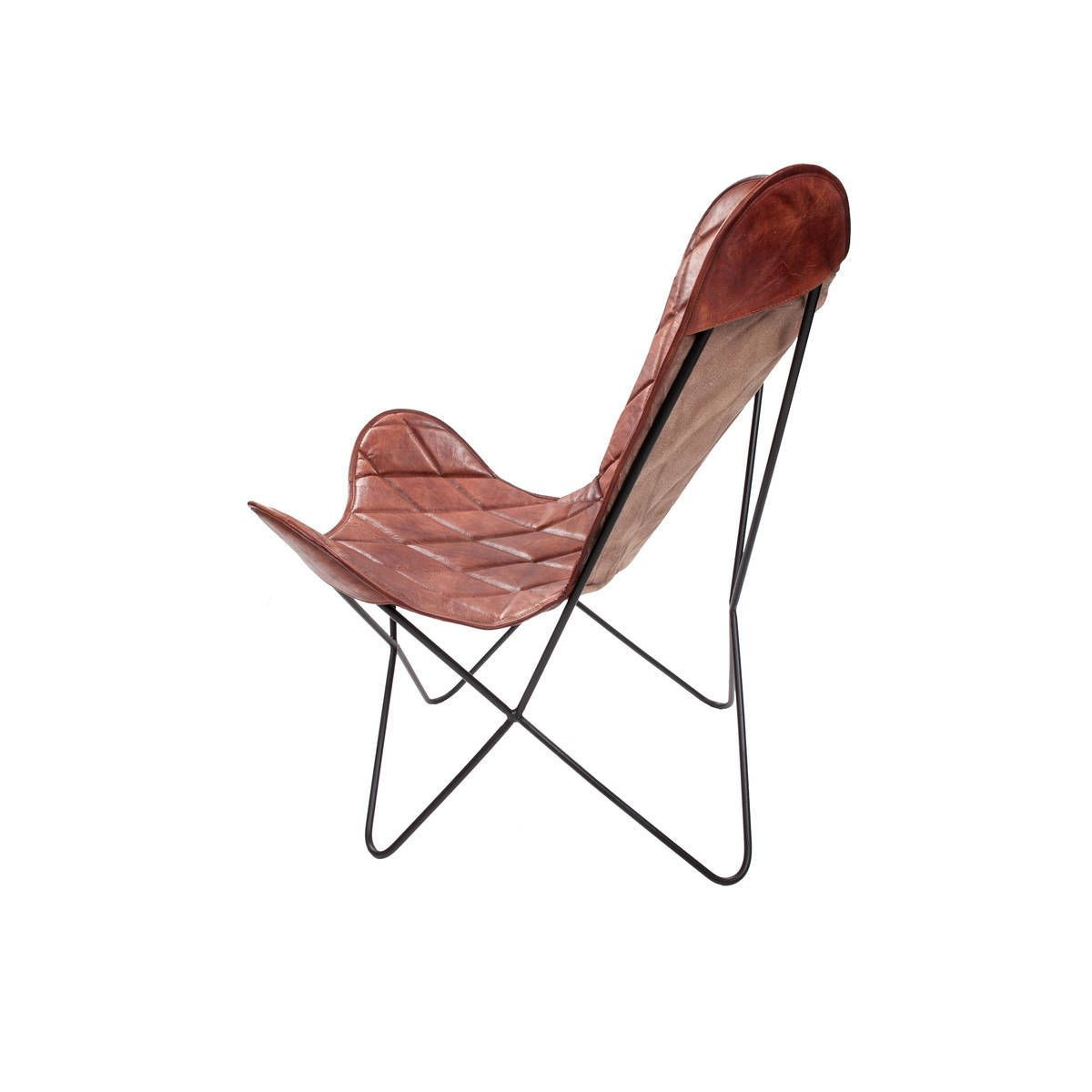Leather Butterfly Chair Pedro   Cherry Red Check Pattern