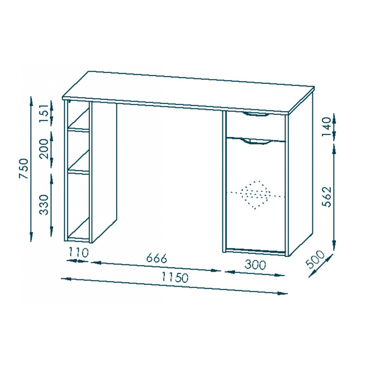 Computertafel 4008   Wit