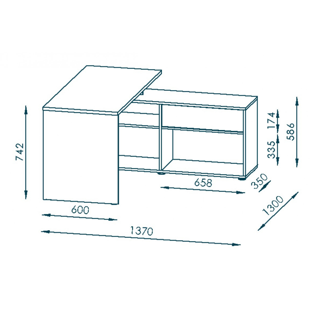 Computertisch 4019   Icy-Weiß