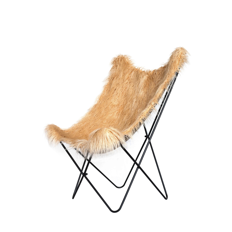 Fake Fur Butterfly Chair Lynn   Brown/Beige