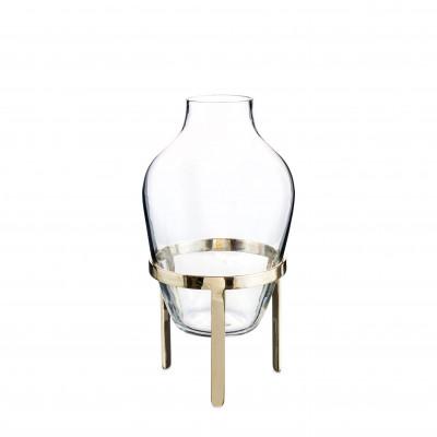 Kleine Glasvase mit Messingständer | Transparent