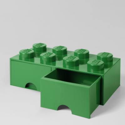 Schublade aus LEGO-Steinen 8 Knöpfe (2 Schubladen)   Grün