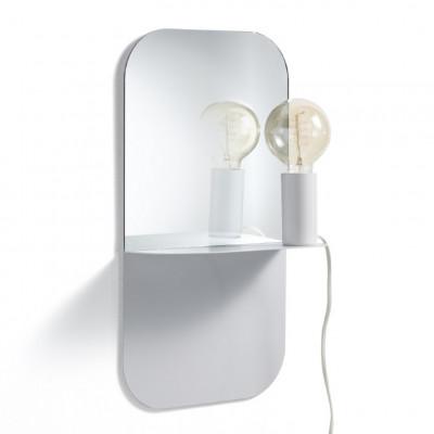 Wandlampe / Regal mit Spiegel | Weiß