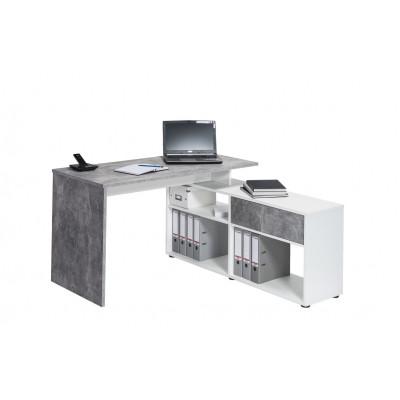 Computertisch 4019 | Betonoptik / Icy-Weiß