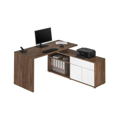 Computertisch 4020 | Eiche Dunkel / Weiß Hochglanz