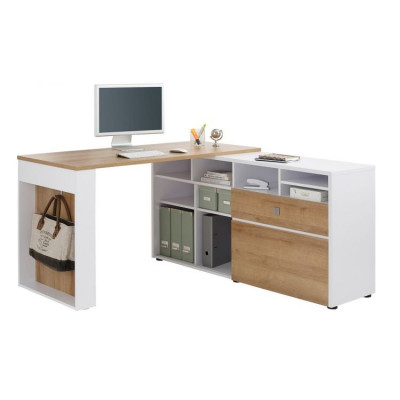 Schreibtisch 4021 | Weiß Matt / Riviera Eiche