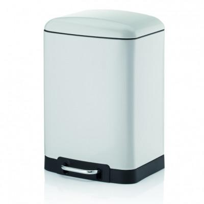 Treteimer mit Lautlosem Schließen 12 L   Weiß