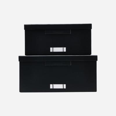 2-er Set Schachteln mit Deckel Quadrat File | Schwarz