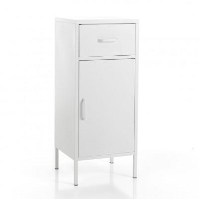 Säulenschrank 1 Tür + 1 Schublade Industrie   Weiß