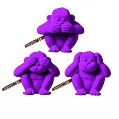 Schlüsselanhänger-Affe 3er-Set | Violett