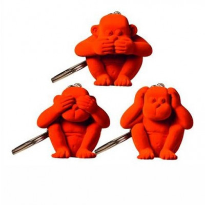 Schlüsselanhänger-Affe 3er-Set | Orange