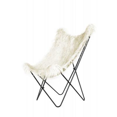 Stuhl mit gefälschtem Fell Schmetterling Lynn | Weiß