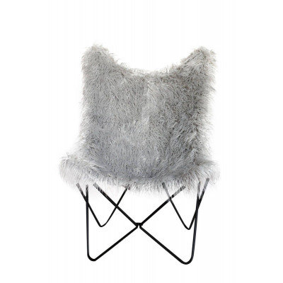 Stuhl mit gefälschtem Fell Schmetterling Lynn | Grau