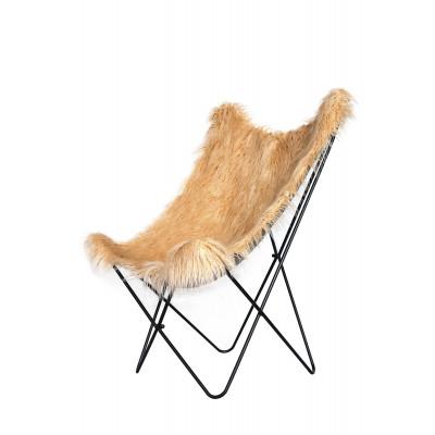 Stuhl mit gefälschtem Fell Schmetterling Lynn | Braun/Beige