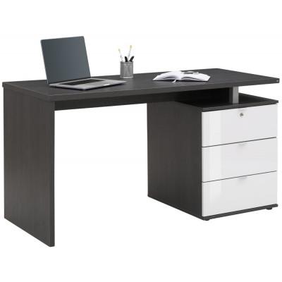 Computertisch 4056 | Eiche Asche / Weiß Hochglanz