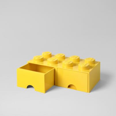 Schublade aus LEGO-Steinen 8 Knöpfe (2 Schubladen) | Gelb