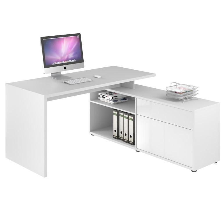 Computertisch 4020 | Icy-Weiß / Weiß Hochglanz