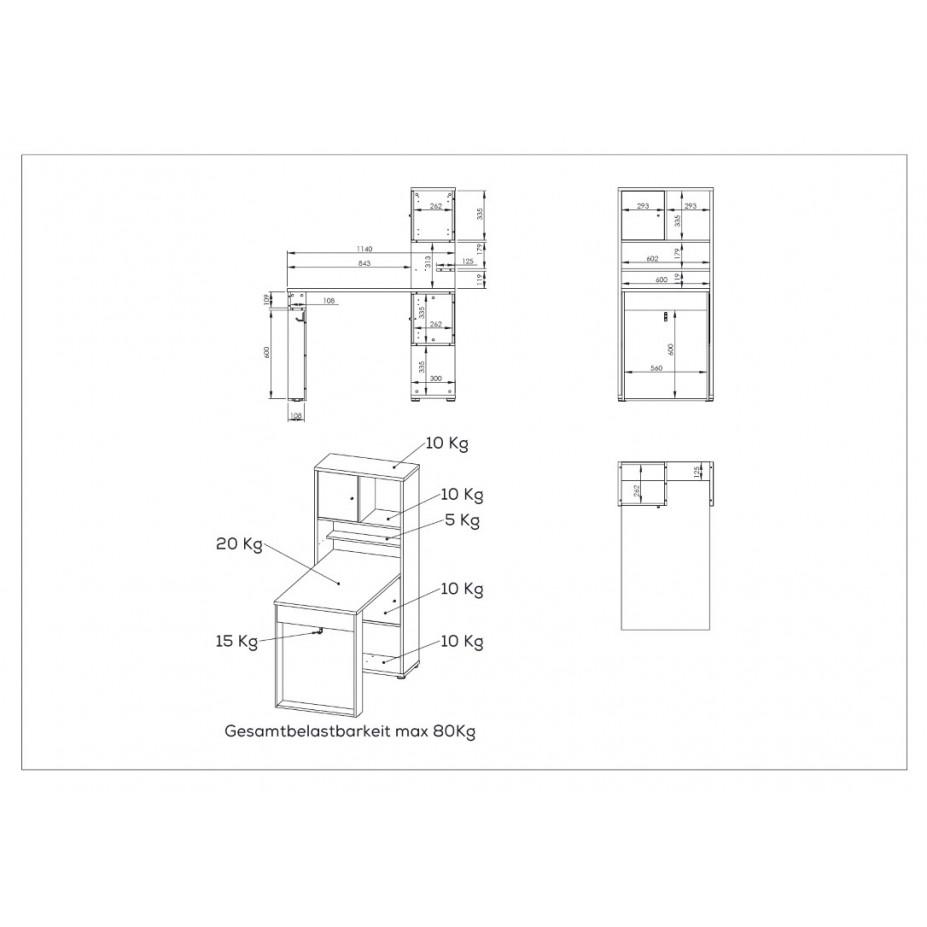 Mini Office 4014   Sonoma Eiche / Weiß Matt