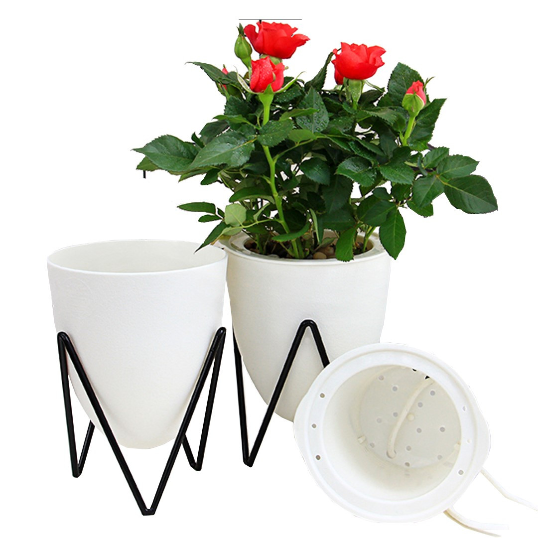 Self-watering Plant Pot Poppy Small   White