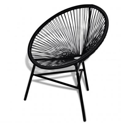 Garden Chair Moon Poly Rattan   Black