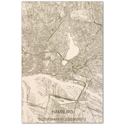 Wooden Wall Decoration | City Map | Hamburg