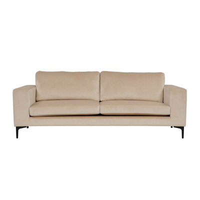3 Seater Sofa Bolero Velvet | Beige & Black Legs