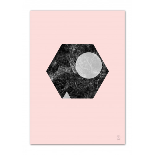 A3 Druck   Marmor Marvel 09 Rosa