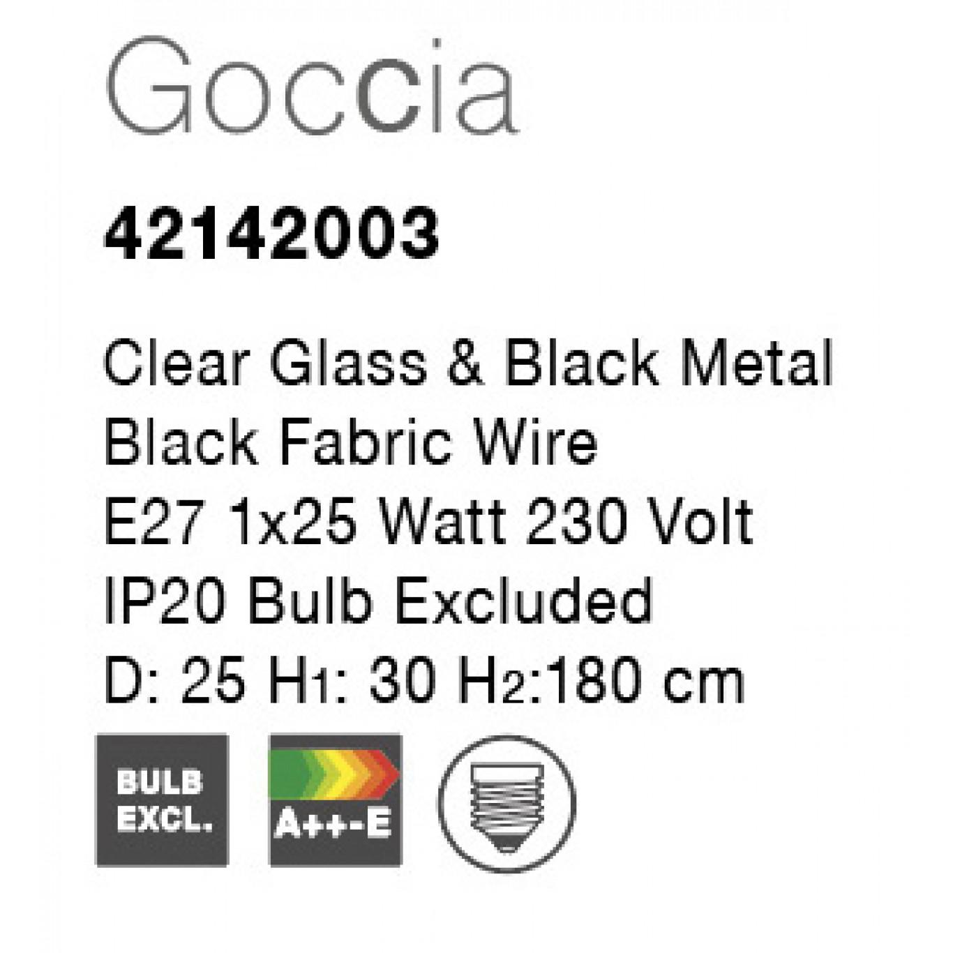 Pendant Light Goccia D 25 cm H 180 cm   Yellow Glass