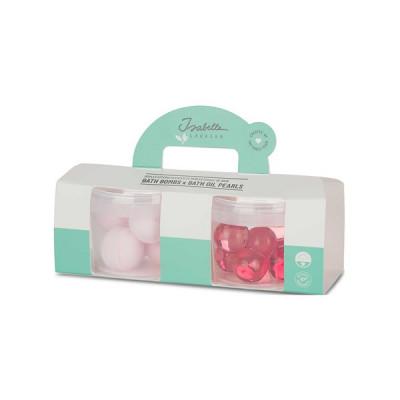 2er Set Mini-Gläser mit Badeölperlen und Badezusätzen | Rose-Passionsfrucht