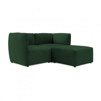 Cube 2-Sitzer-Sofa mit Fußhocker | Smaragdgrün