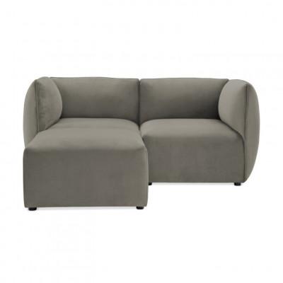Cube 2-Sitzer-Sofa mit Fußhocker | Silbergrau