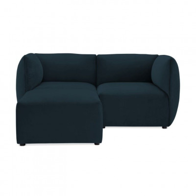 Cube 2-Sitzer-Sofa mit Fußhocker | Navy