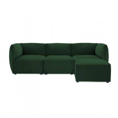 Cube 3-Sitzer-Sofa mit Fußhocker | Smaragdgrün