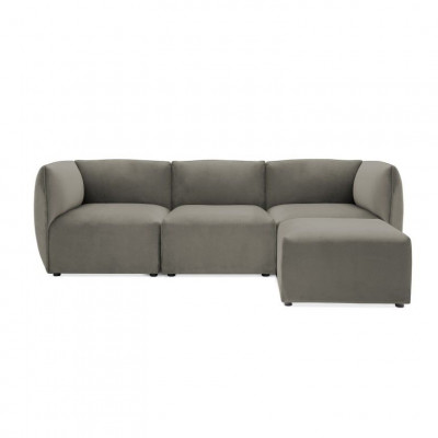Cube 3-Sitzer-Sofa mit Fußhocker | Silbergrau