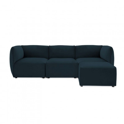 Cube 3-Sitzer-Sofa mit Hocker | Navy