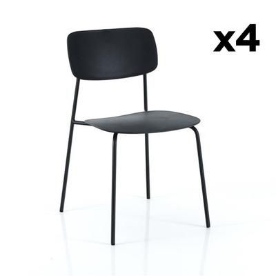 4er Set Stühle Primary I Schwarz