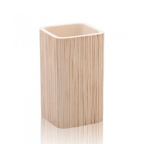 Ceramic Toothbrush Holder Spa | Light Wood