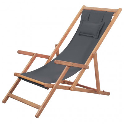 Foldable Beach Chair with Pillow | Grey