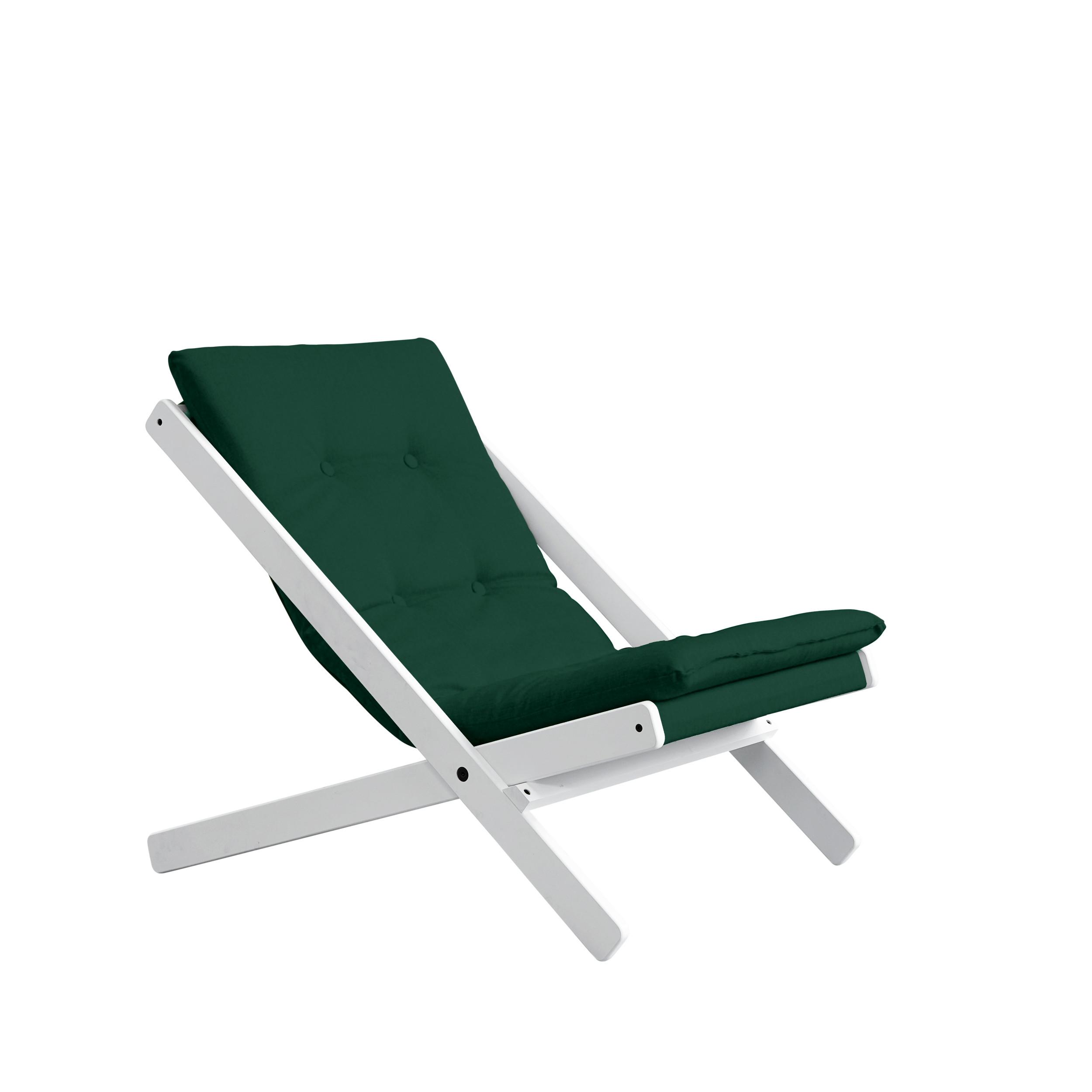 Stuhl Boogie | Weißer Rahmen & Waldgrüne Sitzfläche