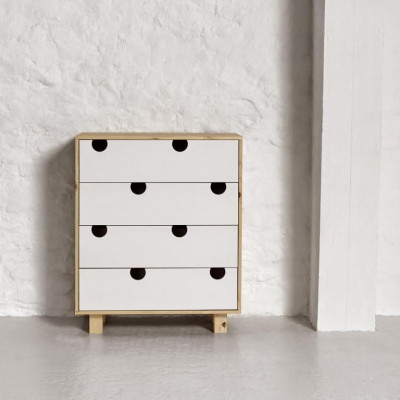 Kommode mit 4 Schubladen | Natur & Weiß