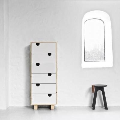 Kommode mit 6 Schubladen | Natur & Weiß