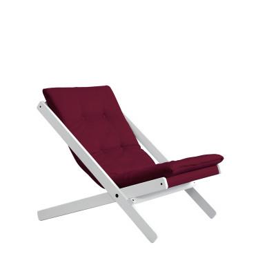 Stuhl Boogie | Weißes Gestell & Bordeaux Sitzfläche